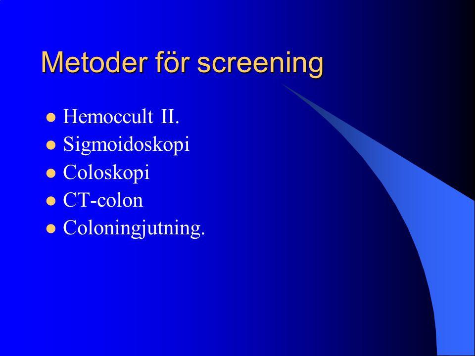Metoder för screening Hemoccult II. Sigmoidoskopi Coloskopi CT-colon Coloningjutning.