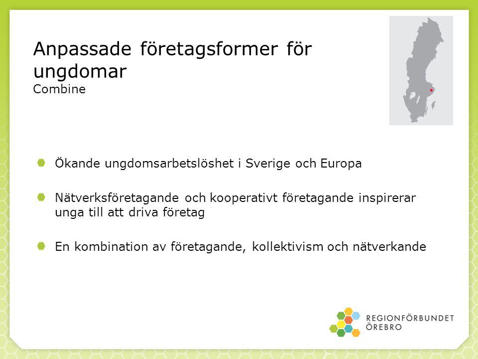 Anpassade företagsformer för ungdomar Combine Ökande ungdomsarbetslöshet i Sverige och Europa Nätverksföretagande och kooperativt företagande inspirer