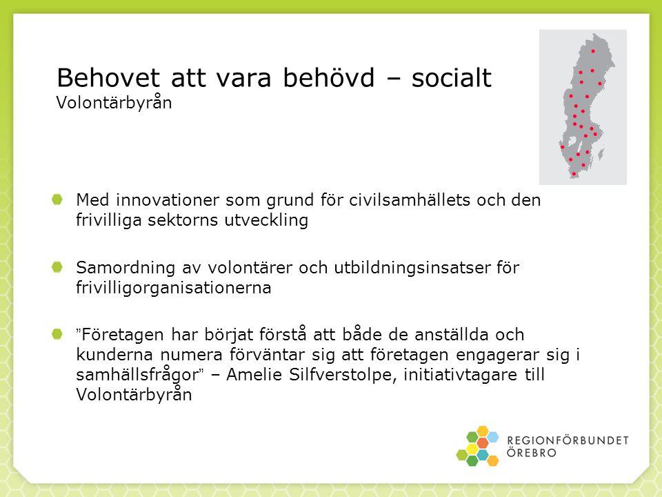 Behovet att vara behövd – socialt Volontärbyrån Med innovationer som grund för civilsamhällets och den frivilliga sektorns utveckling Samordning av vo