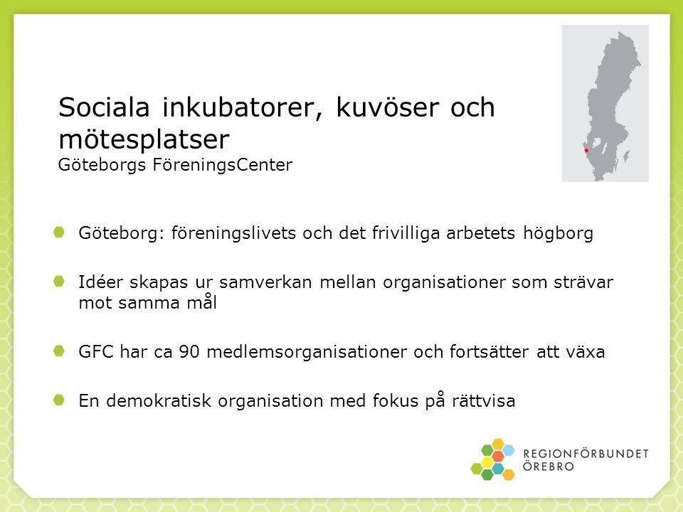Sociala inkubatorer, kuvöser och mötesplatser Göteborgs FöreningsCenter Göteborg: föreningslivets och det frivilliga arbetets högborg Idéer skapas ur