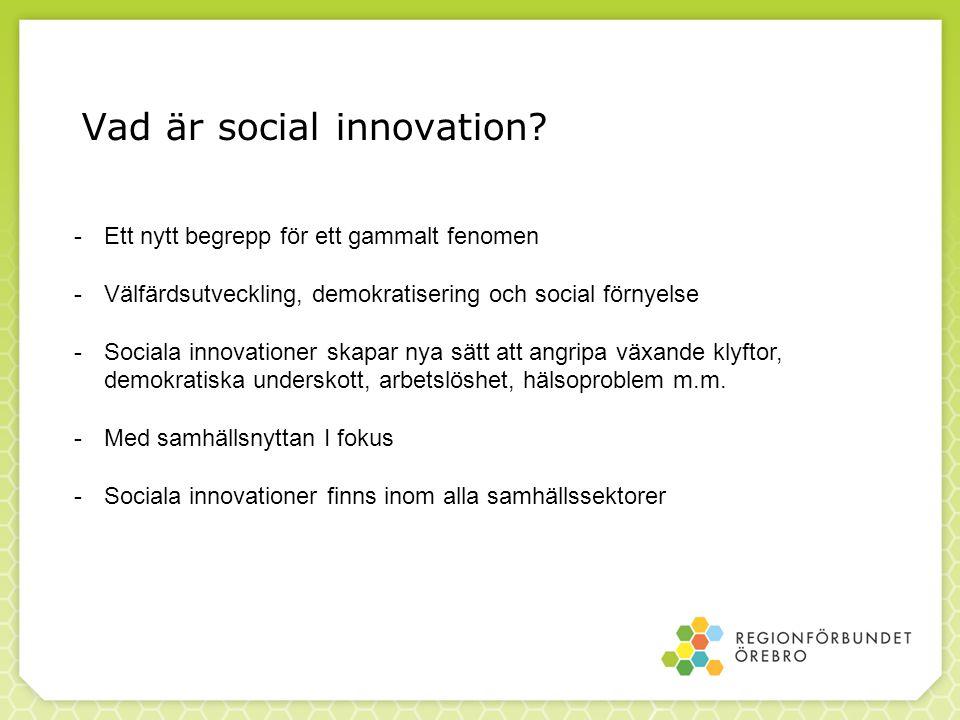 Vad är social innovation? -Ett nytt begrepp för ett gammalt fenomen -Välfärdsutveckling, demokratisering och social förnyelse -Sociala innovationer sk