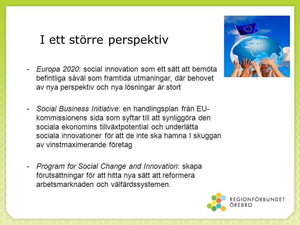 -Europa 2020: social innovation som ett sätt att bemöta befintliga såväl som framtida utmaningar, där behovet av nya perspektiv och nya lösningar är s