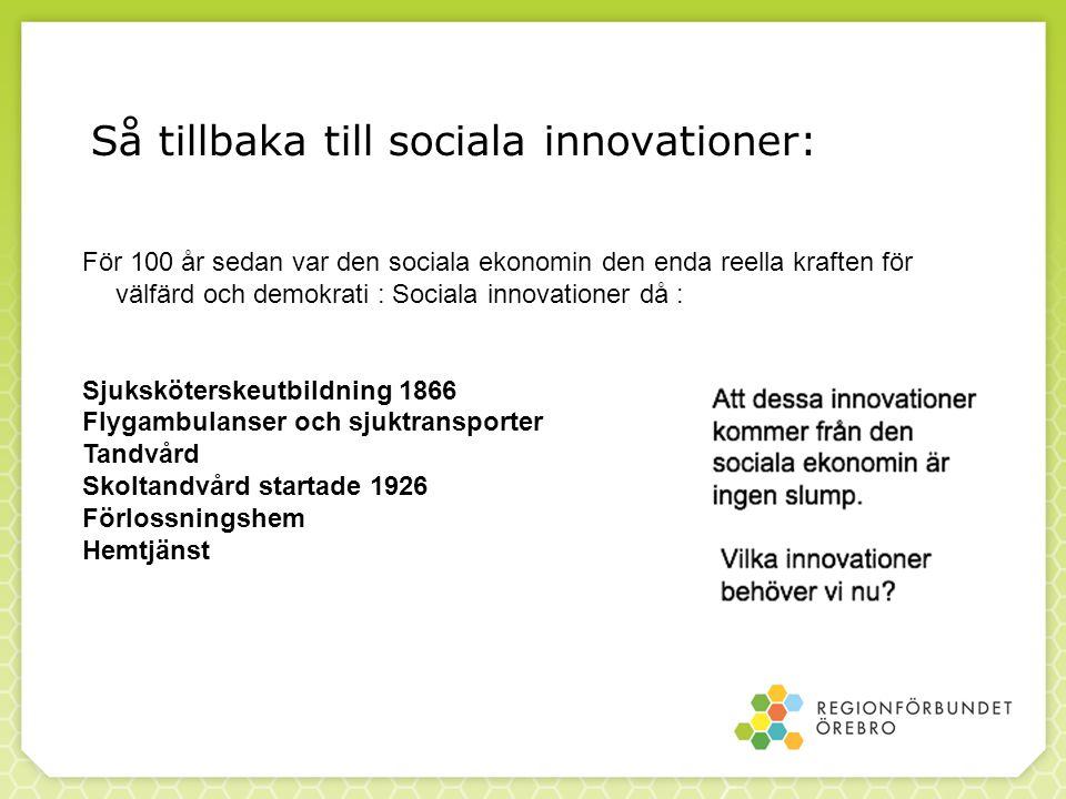 Så tillbaka till sociala innovationer: För 100 år sedan var den sociala ekonomin den enda reella kraften för välfärd och demokrati : Sociala innovatio