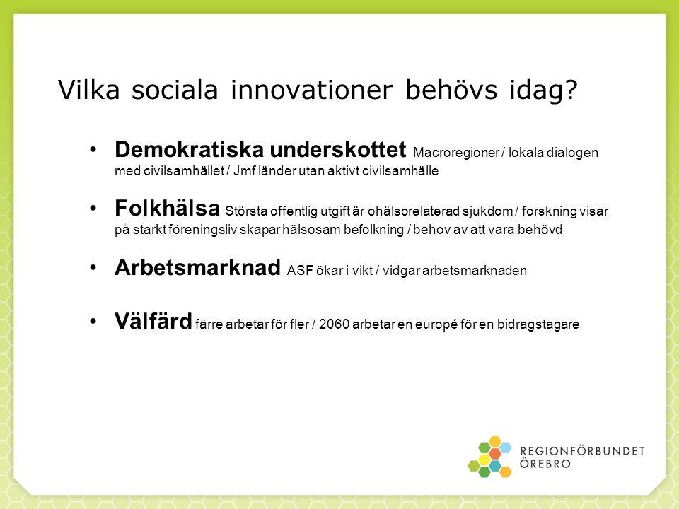 Vilka sociala innovationer behövs idag? Demokratiska underskottet Macroregioner / lokala dialogen med civilsamhället / Jmf länder utan aktivt civilsam