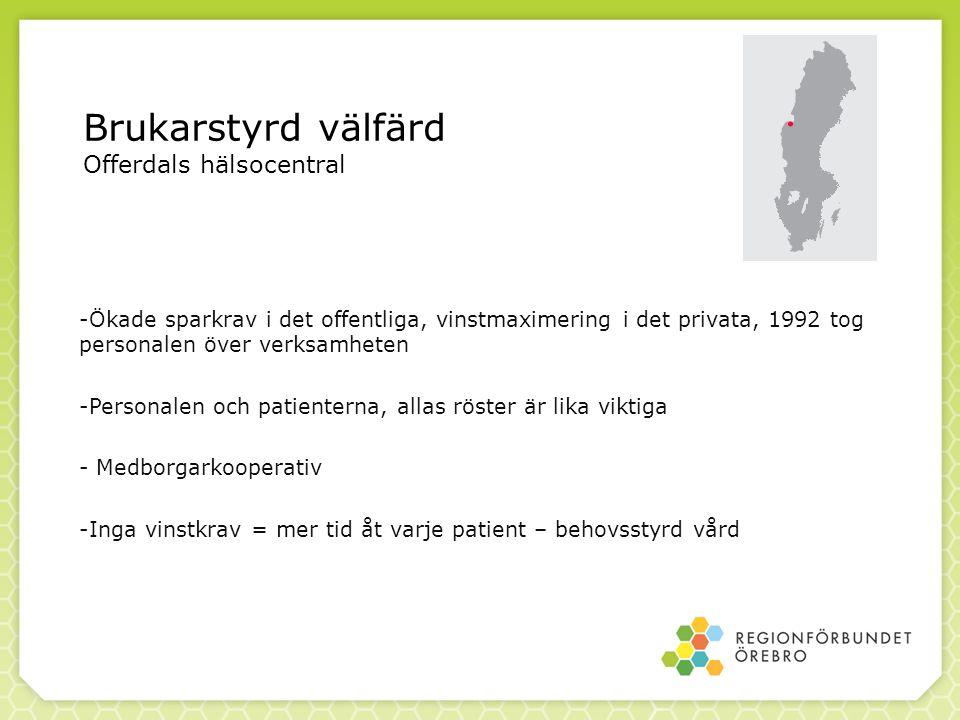 Brukarstyrd välfärd Offerdals hälsocentral -Ökade sparkrav i det offentliga, vinstmaximering i det privata, 1992 tog personalen över verksamheten -Per