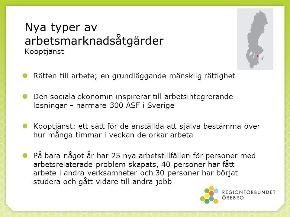 Nya typer av arbetsmarknadsåtgärder Kooptjänst Rätten till arbete; en grundläggande mänsklig rättighet Den sociala ekonomin inspirerar till arbetsintegrerande lösningar – närmare 300 ASF i Sverige Kooptjänst: ett sätt för de anställda att själva bestämma över hur många timmar i veckan de orkar arbeta På bara något år har 25 nya arbetstillfällen för personer med arbetsrelaterade problem skapats, 40 personer har fått arbete i andra verksamheter och 30 personer har börjat studera och gått vidare till andra jobb