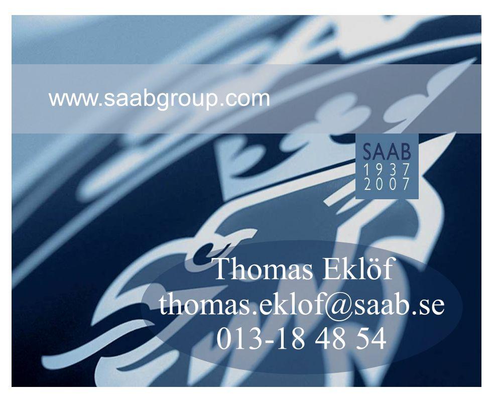 ST-TE.2007-063 Fil: Swean 071114.ppt Sida 36Copyright Saab AB Infoklass: Intern 2006-10-24 Thomas Eklöf thomas.eklof@saab.se 013-18 48 54 www.saabgroup.com