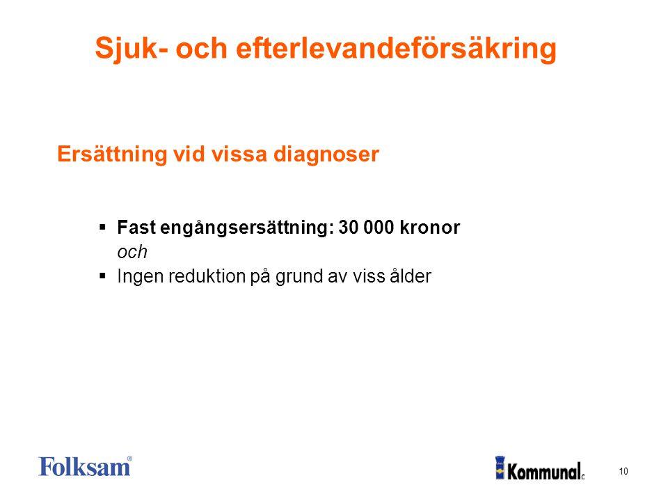 10 Sjuk- och efterlevandeförsäkring Ersättning vid vissa diagnoser  Fast engångsersättning: 30 000 kronor och  Ingen reduktion på grund av viss ålde