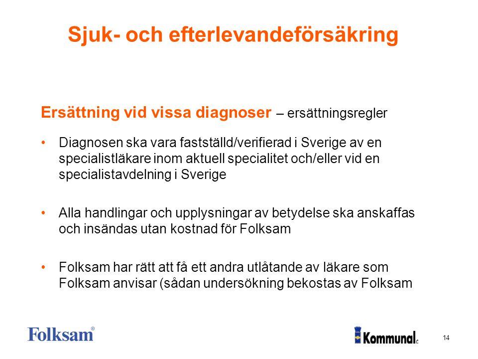 14 Sjuk- och efterlevandeförsäkring Ersättning vid vissa diagnoser – ersättningsregler Diagnosen ska vara fastställd/verifierad i Sverige av en specia