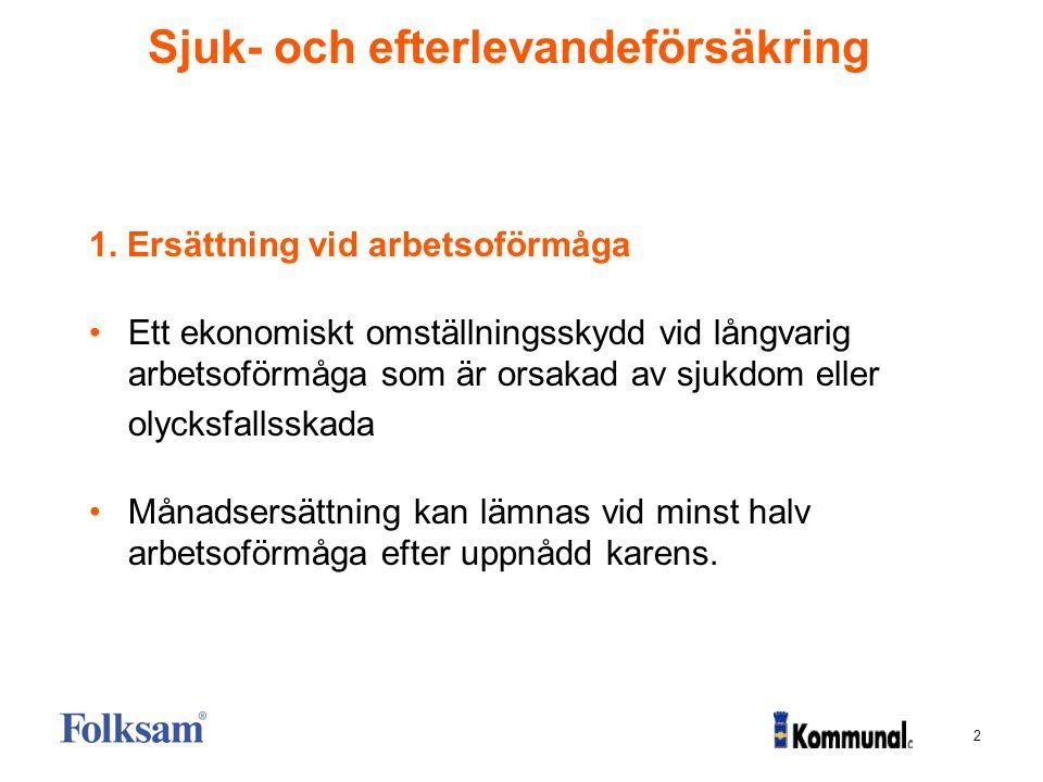 3 Sjuk- och efterlevandeförsäkring Ersättning vid arbetsoförmåga S k rakt försäkringsbelopp.