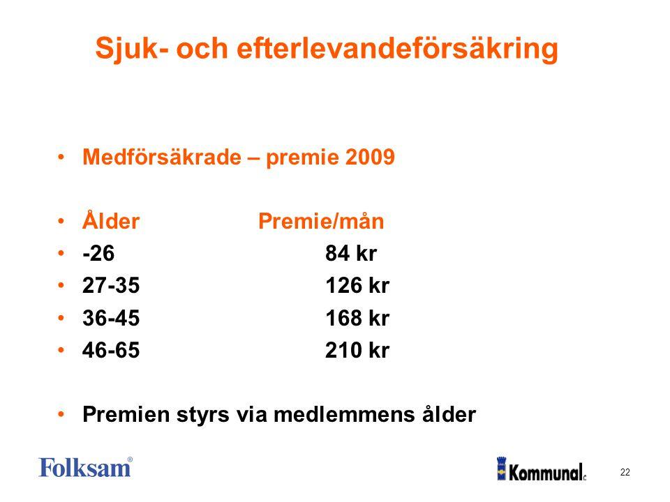 22 Sjuk- och efterlevandeförsäkring Medförsäkrade – premie 2009 ÅlderPremie/mån -2684 kr 27-35126 kr 36-45168 kr 46-65210 kr Premien styrs via medlemm