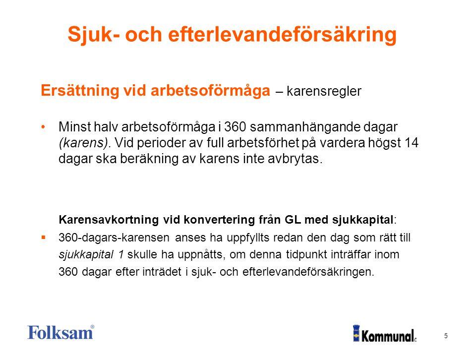 5 Sjuk- och efterlevandeförsäkring Ersättning vid arbetsoförmåga – karensregler Minst halv arbetsoförmåga i 360 sammanhängande dagar (karens). Vid per