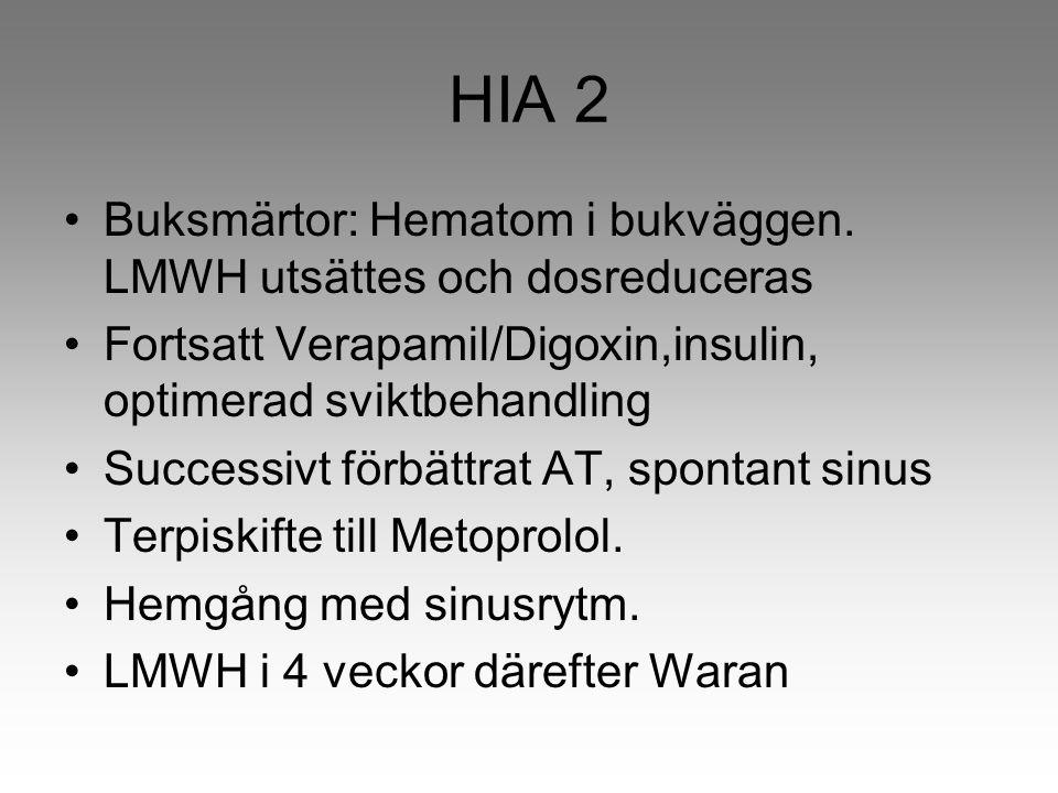 HIA 2 Buksmärtor: Hematom i bukväggen. LMWH utsättes och dosreduceras Fortsatt Verapamil/Digoxin,insulin, optimerad sviktbehandling Successivt förbätt