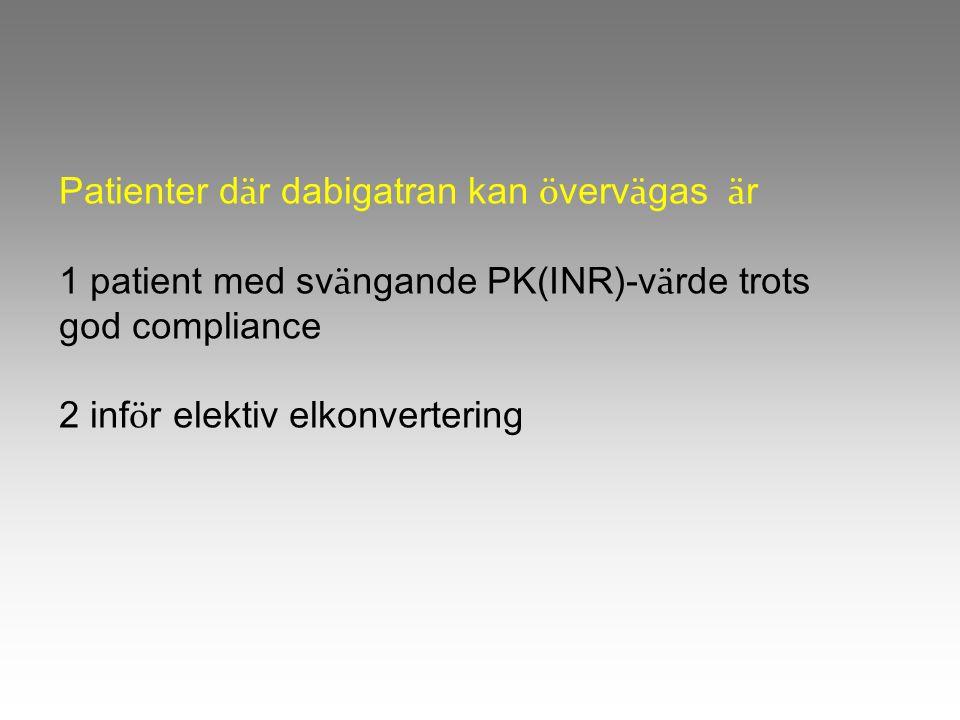 Patienter d ä r dabigatran kan ö verv ä gas ä r 1 patient med sv ä ngande PK(INR)-v ä rde trots god compliance 2 inf ö r elektiv elkonvertering