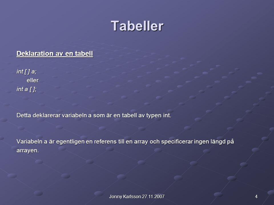 4Jonny Karlsson 27.11.2007 Tabeller Deklaration av en tabell int [ ] a; eller int a [ ]; Detta deklarerar variabeln a som är en tabell av typen int. V