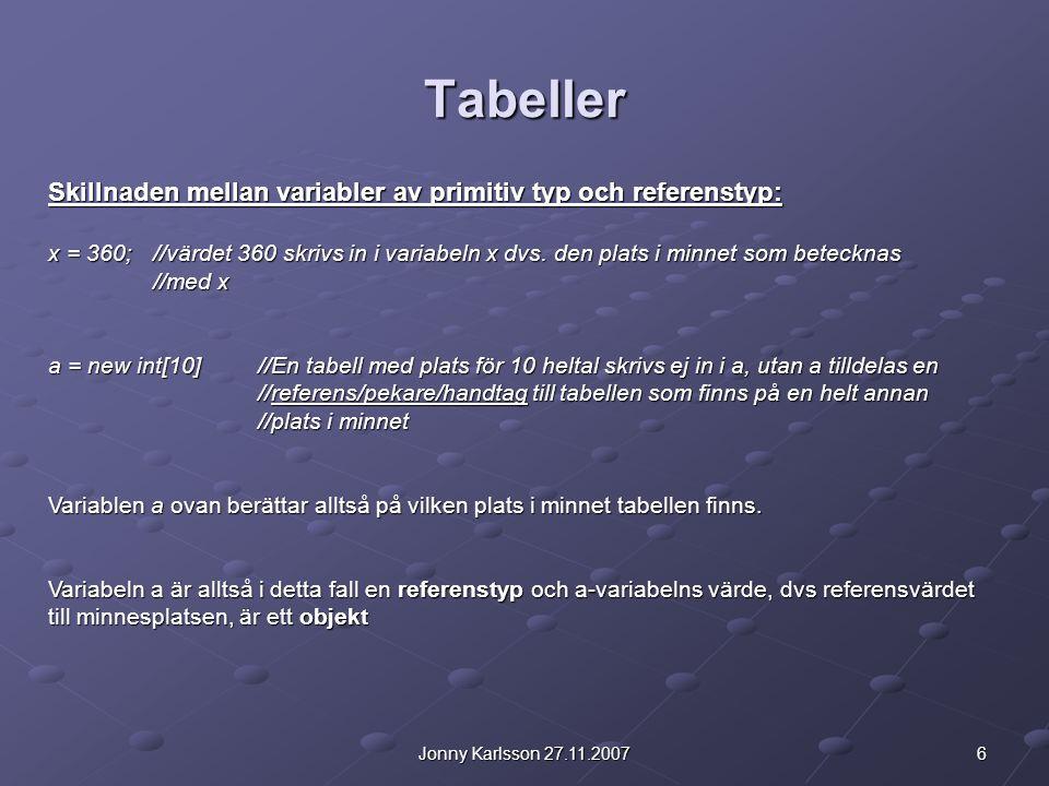 6Jonny Karlsson 27.11.2007 Tabeller Skillnaden mellan variabler av primitiv typ och referenstyp: x = 360; //värdet 360 skrivs in i variabeln x dvs. de
