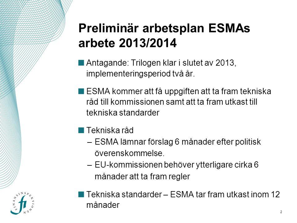 2 Preliminär arbetsplan ESMAs arbete 2013/2014 Antagande: Trilogen klar i slutet av 2013, implementeringsperiod två år. ESMA kommer att få uppgiften a