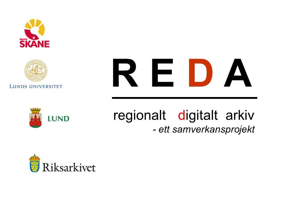 R E D A regionalt digitalt arkiv En smygtitt: hantera jobb i REDA Välj aktivitet (migrering, kontroll av dataintegritet, viruskontroll etc.) Schemalägg aktiviteten Urval på vilket aktiviteten appliceras