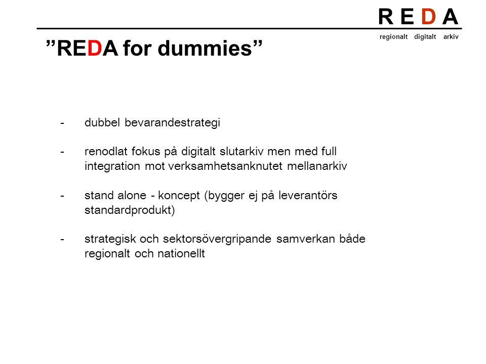R E D A regionalt digitalt arkiv REDA for dummies -dubbel bevarandestrategi -renodlat fokus på digitalt slutarkiv men med full integration mot verksamhetsanknutet mellanarkiv -stand alone - koncept (bygger ej på leverantörs standardprodukt) -strategisk och sektorsövergripande samverkan både regionalt och nationellt