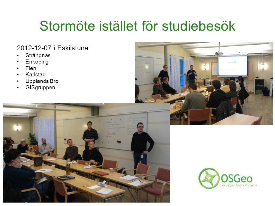 Stormöte istället för studiebesök 2012-12-07 i Eskilstuna Strängnäs Enköping Flen Karlstad Upplands Bro GISgruppen