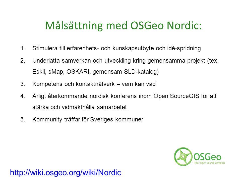Målsättning med OSGeo Nordic: 1.Stimulera till erfarenhets- och kunskapsutbyte och idé-spridning 2.Underlätta samverkan och utveckling kring gemensamma projekt (tex.