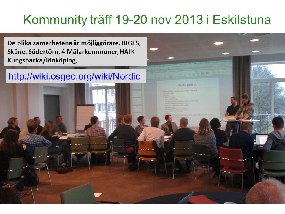 Kommunity träff 19-20 nov 2013 i Eskilstuna De olika samarbetena är möjliggörare. RIGES, Skåne, Södertörn, 4 Mälarkommuner, HAJK Kungsbacka/Jönköping,