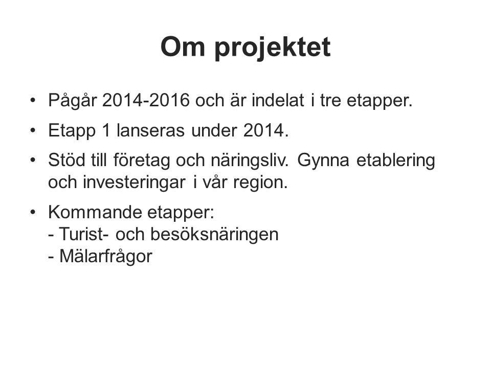 Om projektet Pågår 2014-2016 och är indelat i tre etapper. Etapp 1 lanseras under 2014. Stöd till företag och näringsliv. Gynna etablering och investe