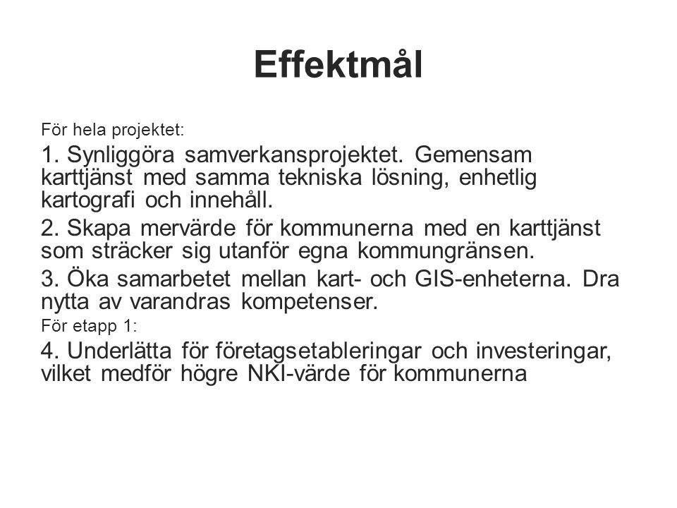 Effektmål För hela projektet: 1. Synliggöra samverkansprojektet. Gemensam karttjänst med samma tekniska lösning, enhetlig kartografi och innehåll. 2.