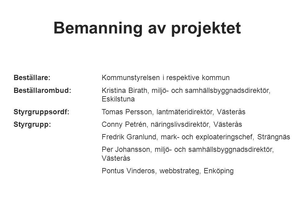 Bemanning av projektet Beställare: Kommunstyrelsen i respektive kommun Beställarombud:Kristina Birath, miljö- och samhällsbyggnadsdirektör, Eskilstuna