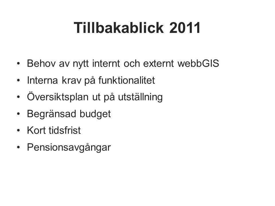 Tillbakablick 2011 Behov av nytt internt och externt webbGIS Interna krav på funktionalitet Översiktsplan ut på utställning Begränsad budget Kort tids