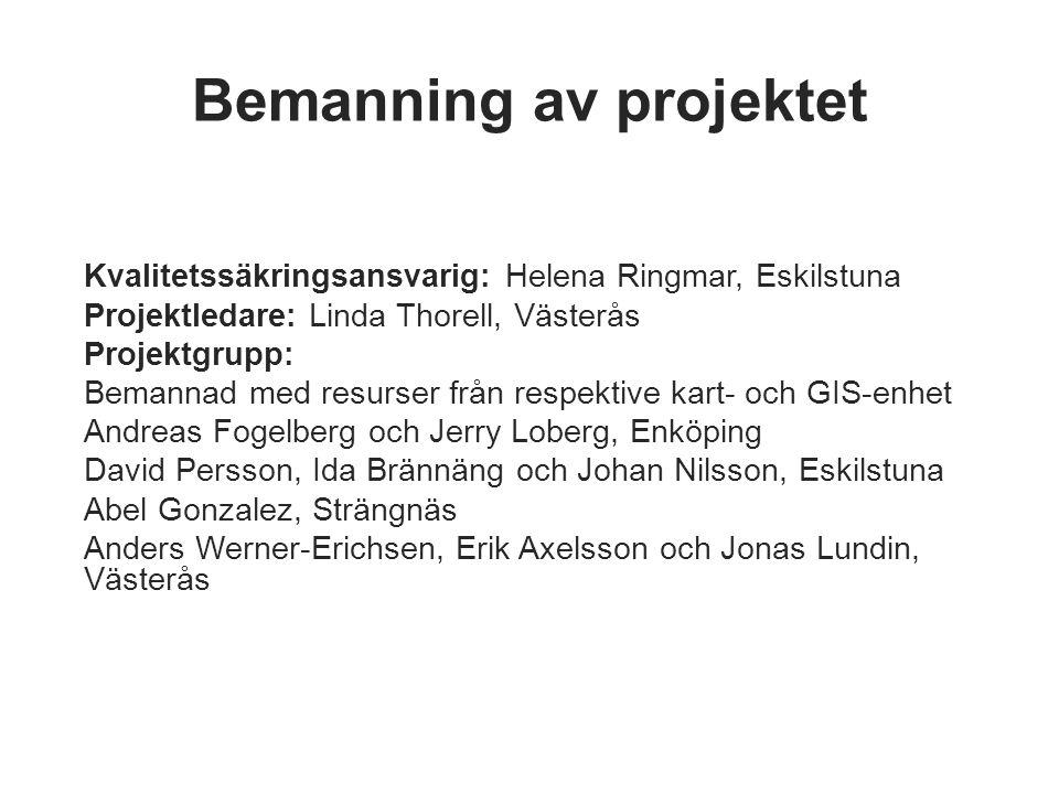 Bemanning av projektet Kvalitetssäkringsansvarig: Helena Ringmar, Eskilstuna Projektledare: Linda Thorell, Västerås Projektgrupp: Bemannad med resurse