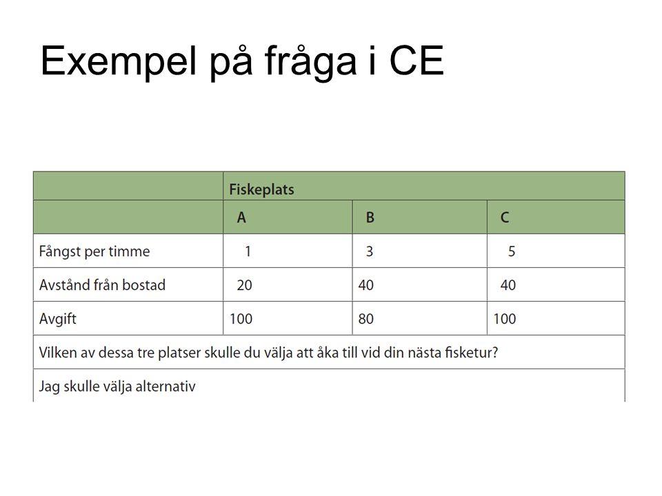 Exempel på fråga i CE