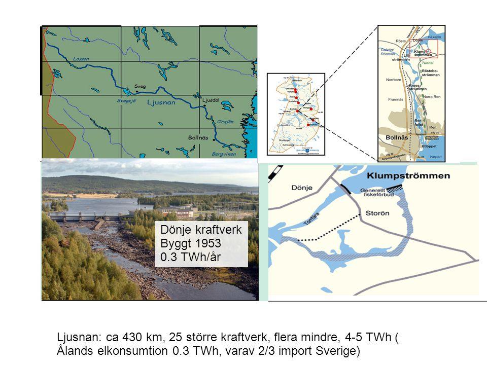 Ljusnan: ca 430 km, 25 större kraftverk, flera mindre, 4-5 TWh ( Ålands elkonsumtion 0.3 TWh, varav 2/3 import Sverige) Dönje kraftverk Byggt 1953 0.3
