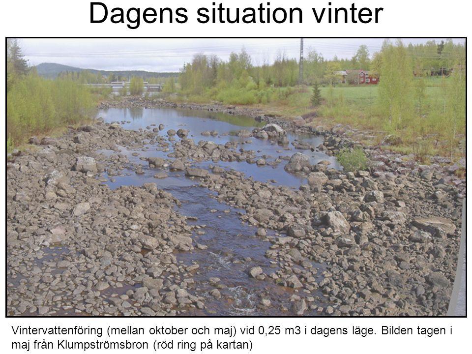 Dagens situation vinter Vintervattenföring (mellan oktober och maj) vid 0,25 m3 i dagens läge. Bilden tagen i maj från Klumpströmsbron (röd ring på ka