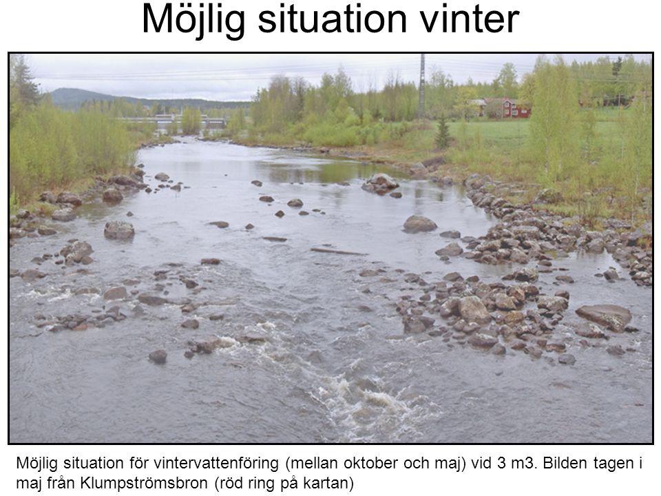 Möjlig situation vinter Möjlig situation för vintervattenföring (mellan oktober och maj) vid 3 m3. Bilden tagen i maj från Klumpströmsbron (röd ring p