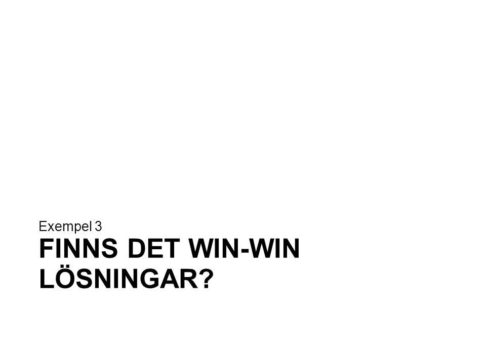 FINNS DET WIN-WIN LÖSNINGAR? Exempel 3