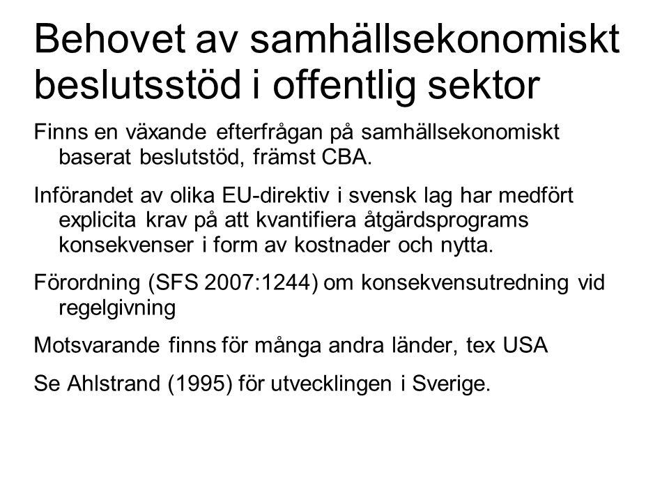 Behovet av samhällsekonomiskt beslutsstöd i offentlig sektor Finns en växande efterfrågan på samhällsekonomiskt baserat beslutstöd, främst CBA. Införa