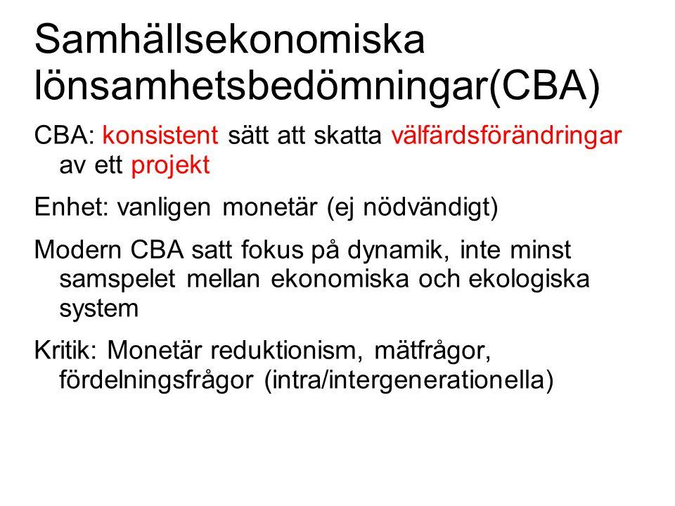 Samhällsekonomiska lönsamhetsbedömningar(CBA) CBA: konsistent sätt att skatta välfärdsförändringar av ett projekt Enhet: vanligen monetär (ej nödvändi