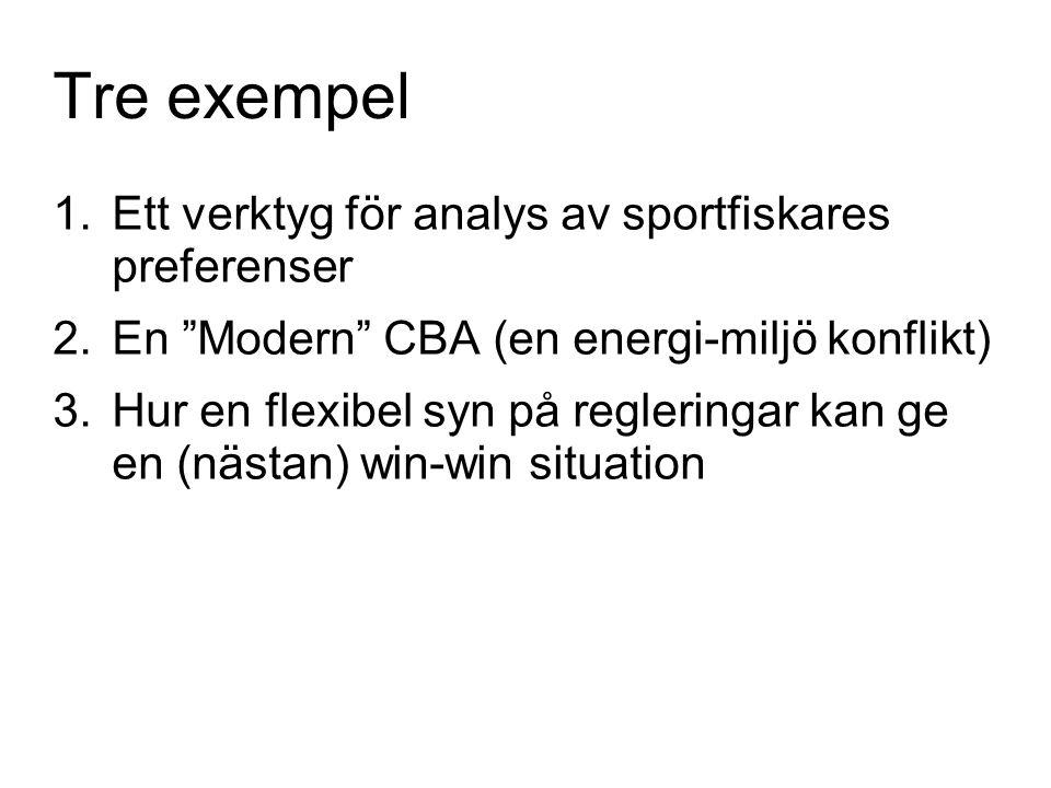 """Tre exempel 1.Ett verktyg för analys av sportfiskares preferenser 2.En """"Modern"""" CBA (en energi-miljö konflikt) 3.Hur en flexibel syn på regleringar ka"""