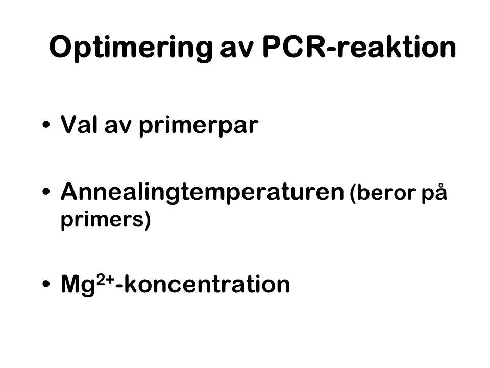 Optimering av PCR-reaktion Val av primerpar Annealingtemperaturen (beror på primers) Mg 2+ -koncentration
