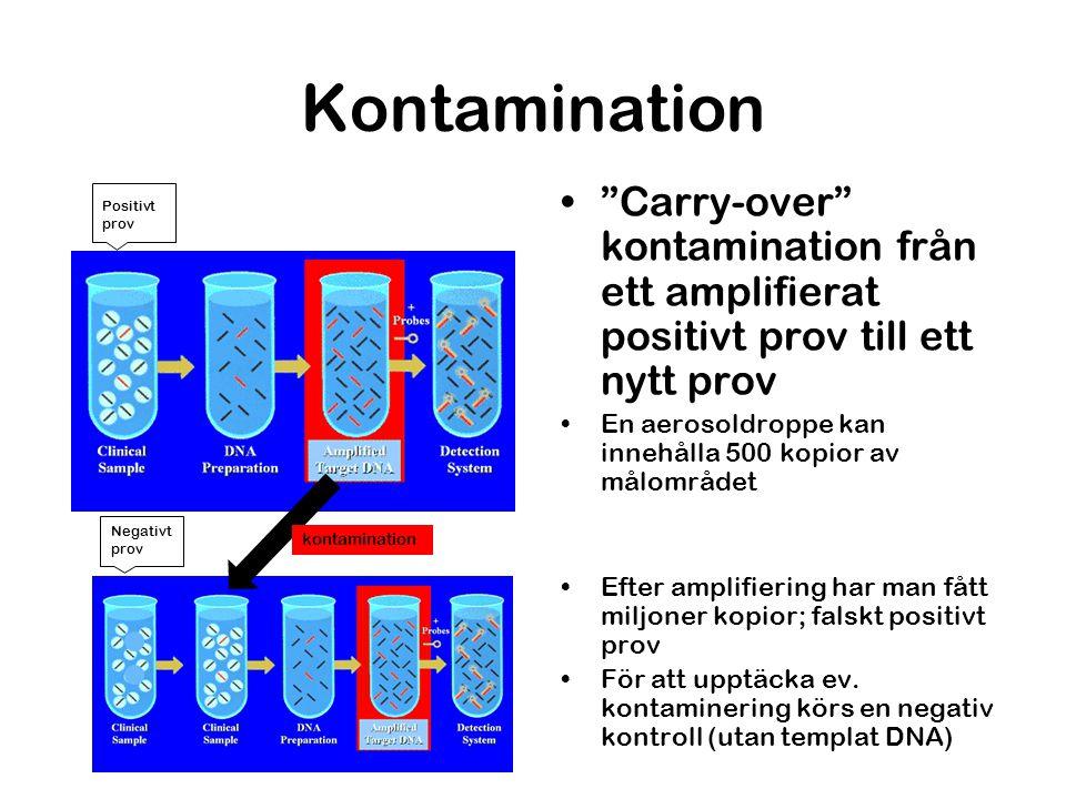 """Kontamination """"Carry-over"""" kontamination från ett amplifierat positivt prov till ett nytt prov En aerosoldroppe kan innehålla 500 kopior av målområdet"""