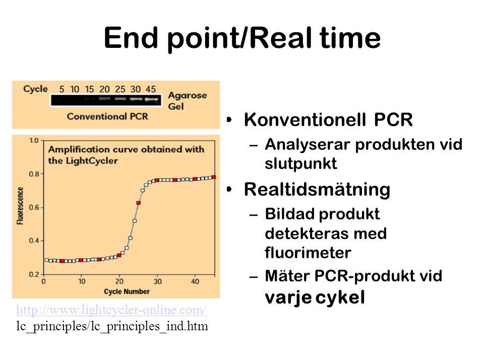 End point/Real time Konventionell PCR –Analyserar produkten vid slutpunkt Realtidsmätning –Bildad produkt detekteras med fluorimeter –Mäter PCR-produk
