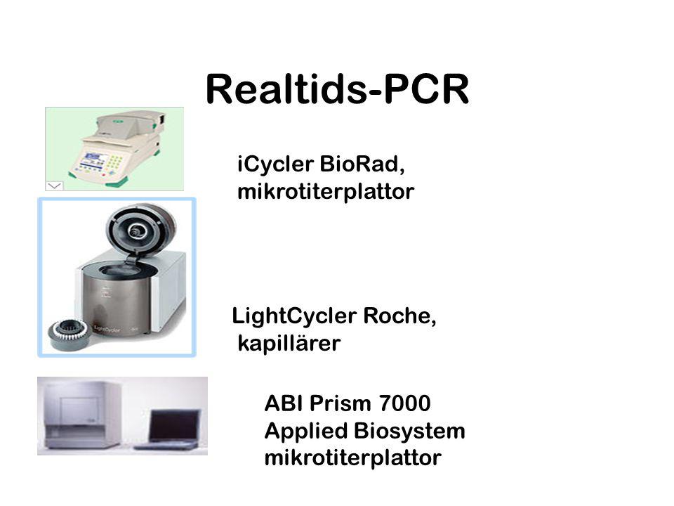 Realtids-PCR iCycler BioRad, mikrotiterplattor LightCycler Roche, kapillärer ABI Prism 7000 Applied Biosystem mikrotiterplattor