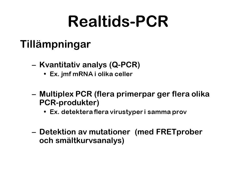 Realtids-PCR Tillämpningar –Kvantitativ analys (Q-PCR) Ex. jmf mRNA i olika celler –Multiplex PCR (flera primerpar ger flera olika PCR-produkter) Ex.
