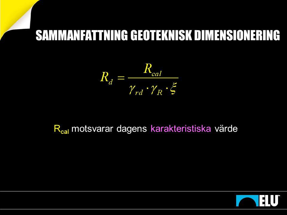 Konstruktiv dimensionering enligt BKR resp Eurocode 7 SS EN 1997-1: BKR: