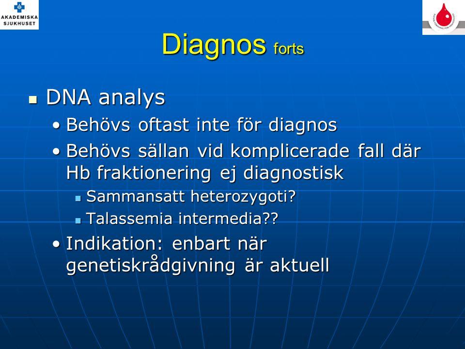 Diagnos forts DNA analys DNA analys Behövs oftast inte för diagnosBehövs oftast inte för diagnos Behövs sällan vid komplicerade fall där Hb fraktionering ej diagnostiskBehövs sällan vid komplicerade fall där Hb fraktionering ej diagnostisk Sammansatt heterozygoti.