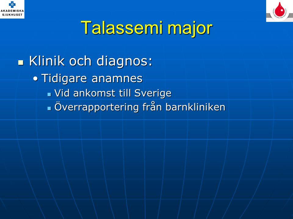 Talassemi major Klinik och diagnos: Klinik och diagnos: Tidigare anamnesTidigare anamnes Vid ankomst till Sverige Vid ankomst till Sverige Överrapport