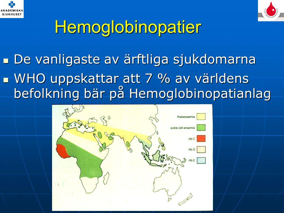 Hemoglobinopatier De vanligaste av ärftliga sjukdomarna De vanligaste av ärftliga sjukdomarna WHO uppskattar att 7 % av världens befolkning bär på Hem