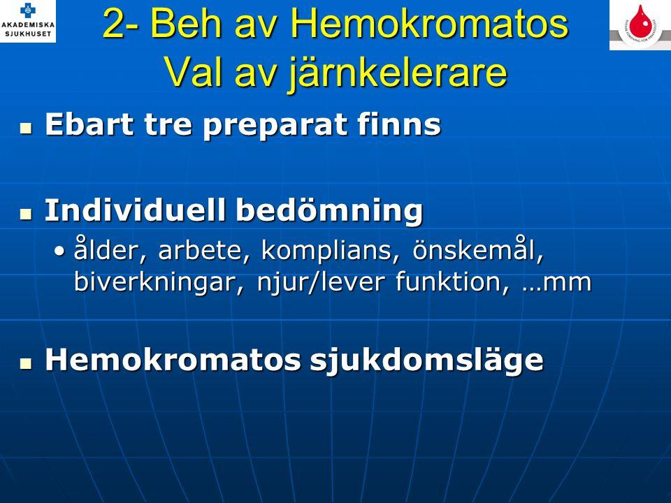 2- Beh av Hemokromatos Val av järnkelerare Ebart tre preparat finns Ebart tre preparat finns Individuell bedömning Individuell bedömning ålder, arbete, komplians, önskemål, biverkningar, njur/lever funktion, …mmålder, arbete, komplians, önskemål, biverkningar, njur/lever funktion, …mm Hemokromatos sjukdomsläge Hemokromatos sjukdomsläge