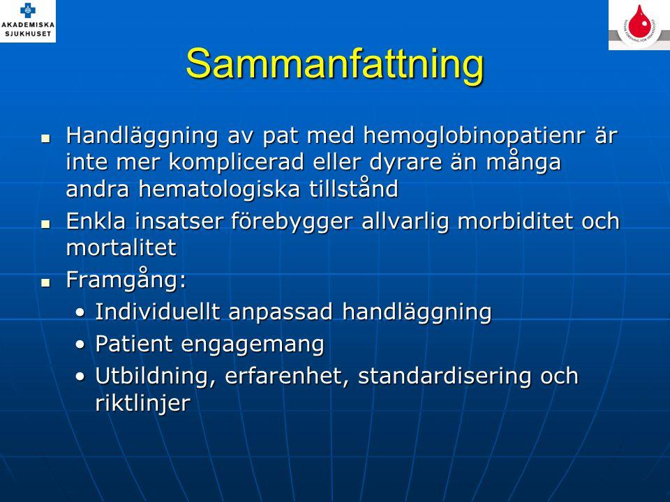 Sammanfattning Handläggning av pat med hemoglobinopatienr är inte mer komplicerad eller dyrare än många andra hematologiska tillstånd Handläggning av